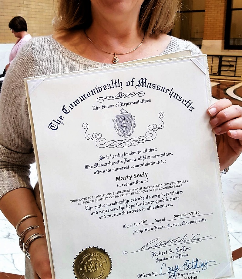 Commonwealth of Massachusetts and The House of Representatives During an exciting event on Beacon Hill, Martha Seely was presented with this award.