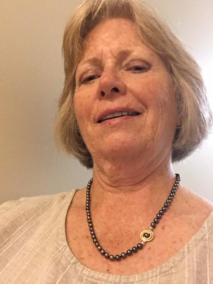"Sylvia wearing her new INSPIRO Pearl Necklace with Petite Pave Spiral It is always fun to make  jewelry for someone you know. And even more fun when they like  what  you create. ""Got the earrings this morning...they are fabulous!!! """
