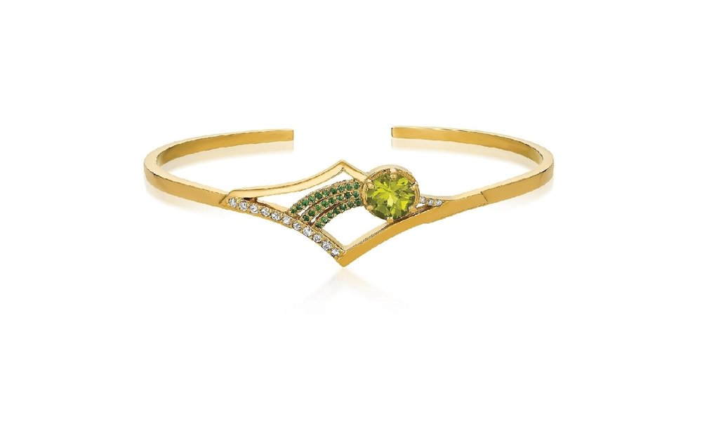 The Antares Cuff in 14KY with a 7mm Peridot, Tsavorite Garnets and Diamonds