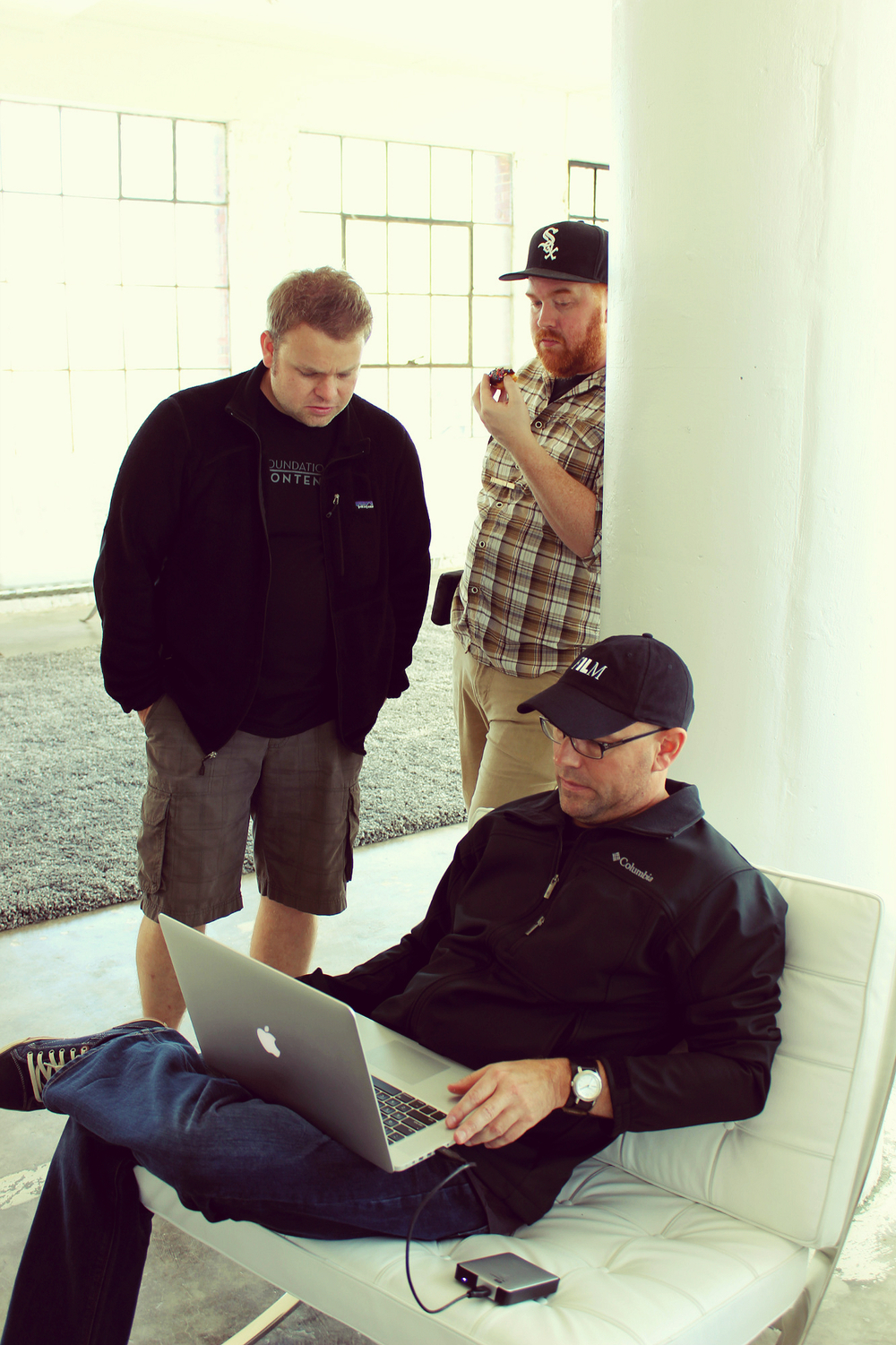Gaffers Erik Anschicks, Andrew Roddewig and Director Kevin Otterness on set. Photographs by: Kim St. Aubin