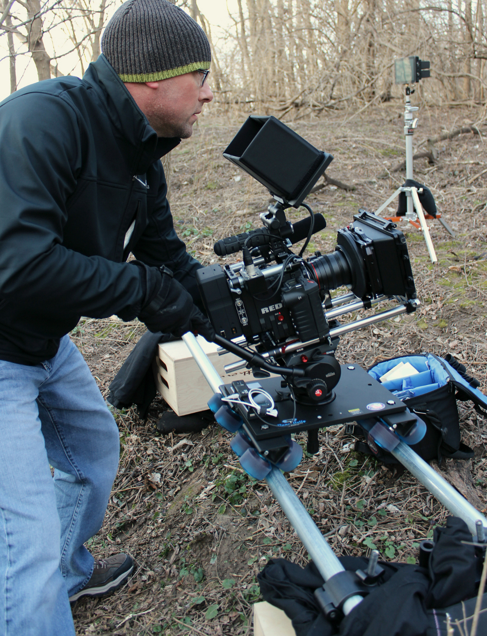Filmmaker Kevin Otterness on-location in Winchester Illinois. Production still by: Kim St. Aubin