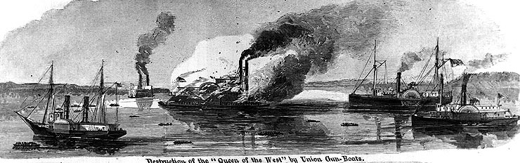 "Line engraving published in ""Harper's Weekly"", 1863, depicting CSS Queen of the West being destroyed in Grand Lake, Louisiana, during an attack by USS Estrella (extreme left), Calhoun (extreme right) and Arizona (second from right), 14 April 1863. Photo courtesy of the Naval Historical Center; originally published in Harper's Weekly"