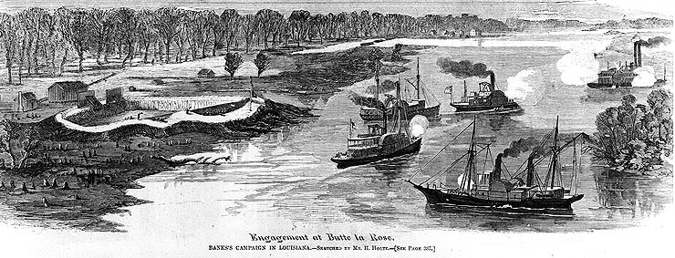 "Line engraving after a sketch by H. Holtz, published in ""Harper's Weekly"", 1863, depicting the U.S. Navy gunboats Estrella, Calhoun, Arizona and Clifton (listed clockwise from lower right) engaging the Confederate gunboat J.A. Cotton off Butte a la Rose, Louisiana, on 20 April 1863. Confederate Fort Burton (shown at left) was captured on the same day. Photo courtesy of the Naval Historical Center; originally published in Harper's Weekly"