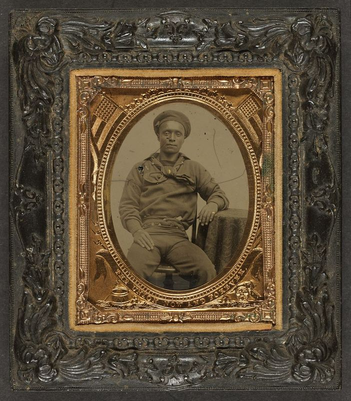 """Unidentified African American sailor in Union uniform sitting with arm resting on table,"" Woodson Research Center - Fondren Library - Rice University, Link."