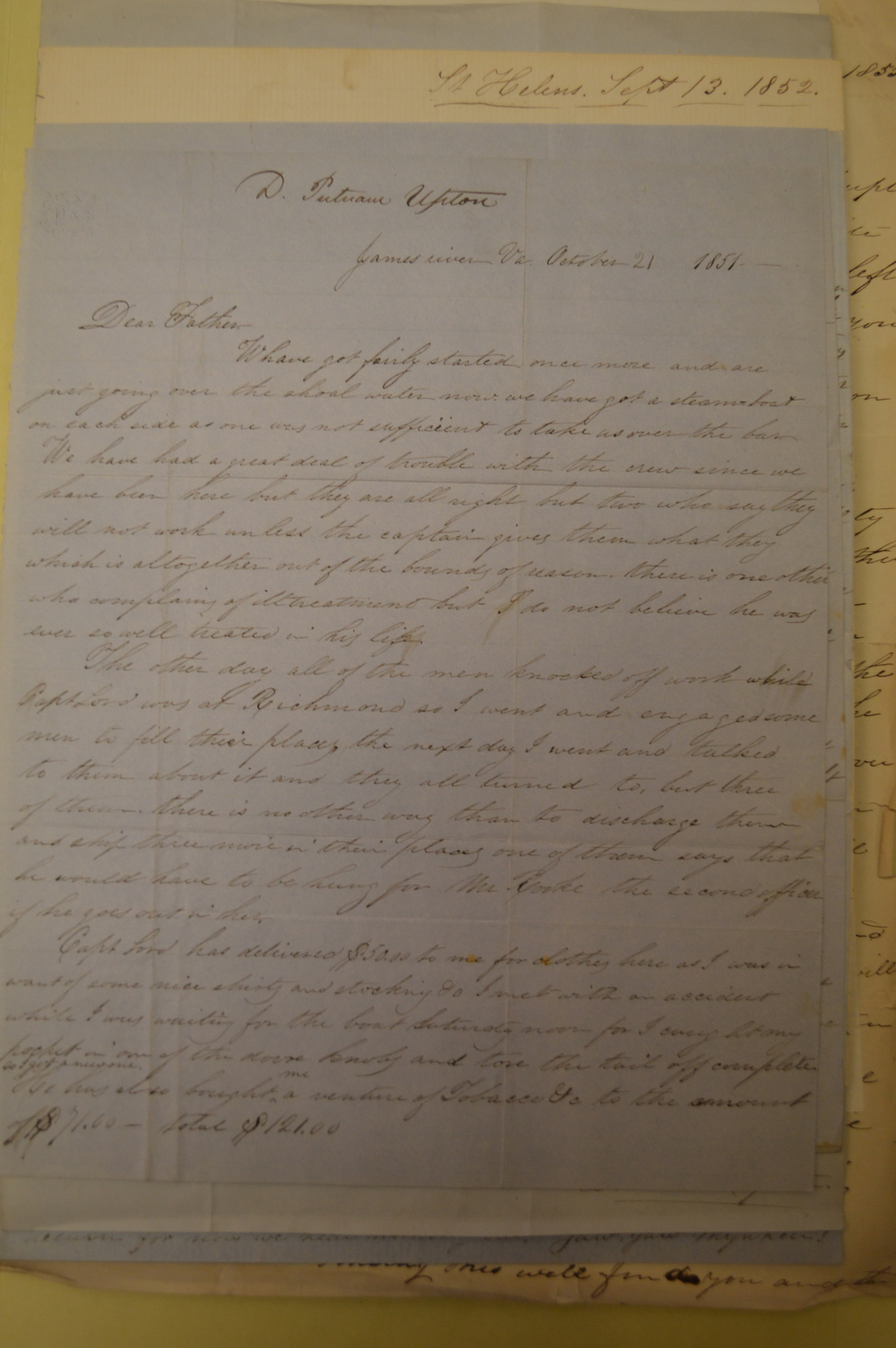 One of the 163 letters written by Daniel Putnam Upton, Captain of the Arizona