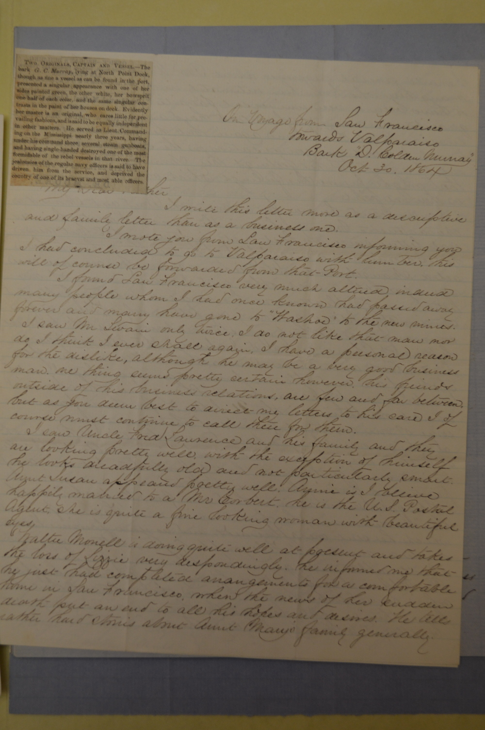 The letter from Daniel P. Upton that included the article he personally  pasted on the letterhead for his Father to review