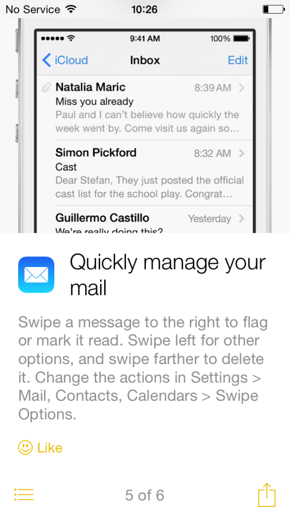 "Screenshot: Apple's ""Tips"" app in iOS 8"