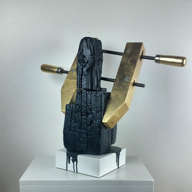Hand Built. 2014. Found Wood, Clamp, Gold Leaf, Plasti Dip. #sculpture #handmade #heirloombullshit