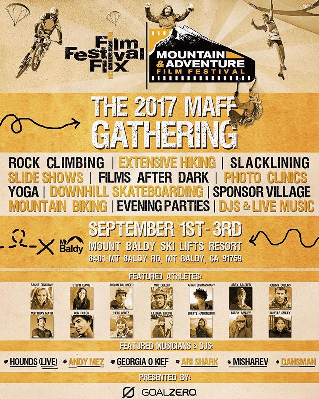 Headed to Mount Baldy this evening to speak at the Mountain Film Festival this weekend! Stoked to meet you all there!! Use code SASHA for 50% off tickets 😁