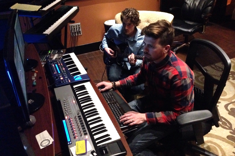 Alexander Devine and Zak Austin work on creating a custom beat for the upcoming Stupendous EP