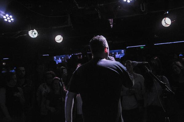 Addressing the crowd at The Analog in Portland.