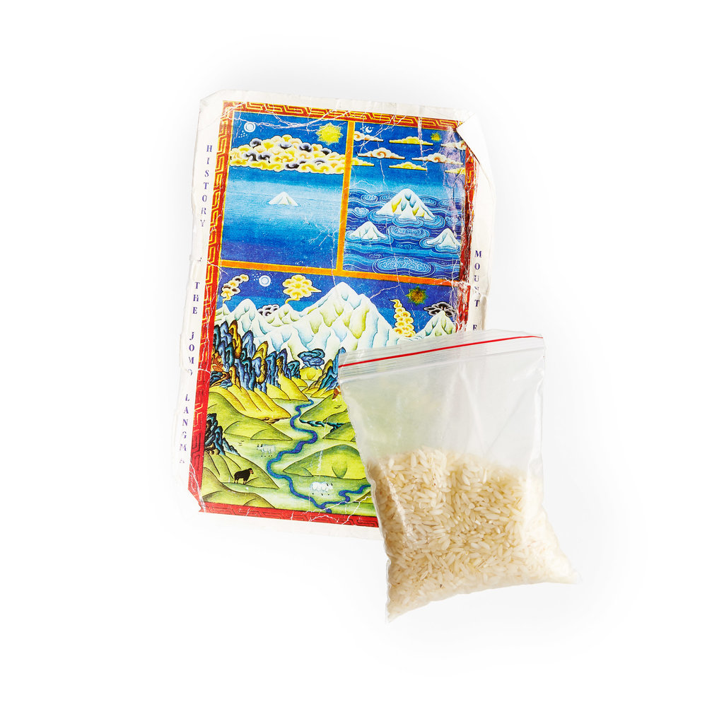 Melissa Arnot's blessed rice bag and prayer card