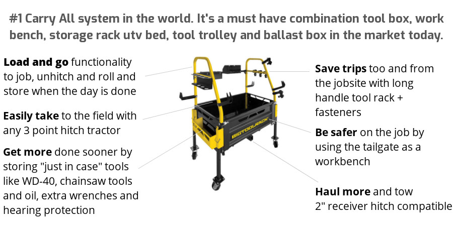 Bigtoolrack Tractor Attachment - 3 Point Carry all for managing acres of land, ranches and large estates