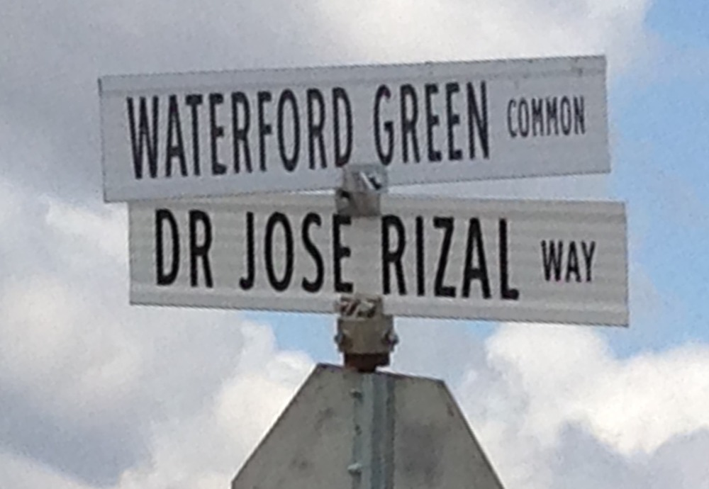 Newly established street Waterford Green Common crosses Dr. Jose Rizal  Way-named in June 2008.
