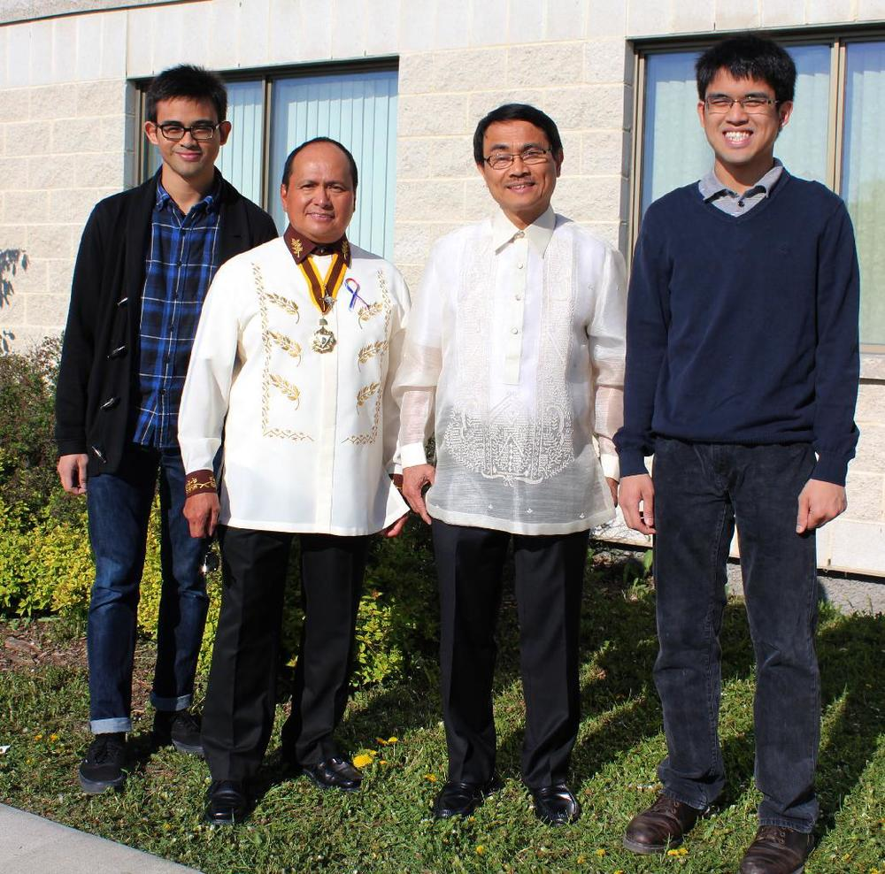 Past Youth Recognition Award recipient (2010)  Gerard Francis Sales (Nursing Student) , Sir Felino De Jesus, KCR Area Commander for Western Canada and YRA chair, proud father Dr. Ramon Faustino Sales, and Ramon Javier Sales , YRA award recipient (2011) and Biochemistry major, attending the Philippines Heritage Flag Raising Ceremony 2014.