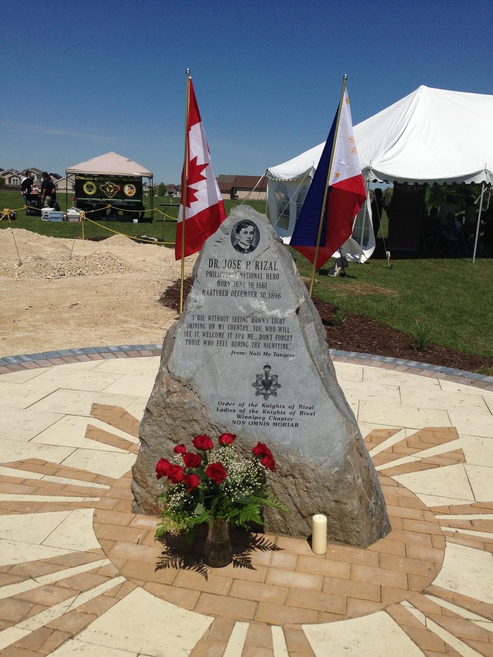 Dr. Jose Rizal Park, Winnipeg memorial boulder