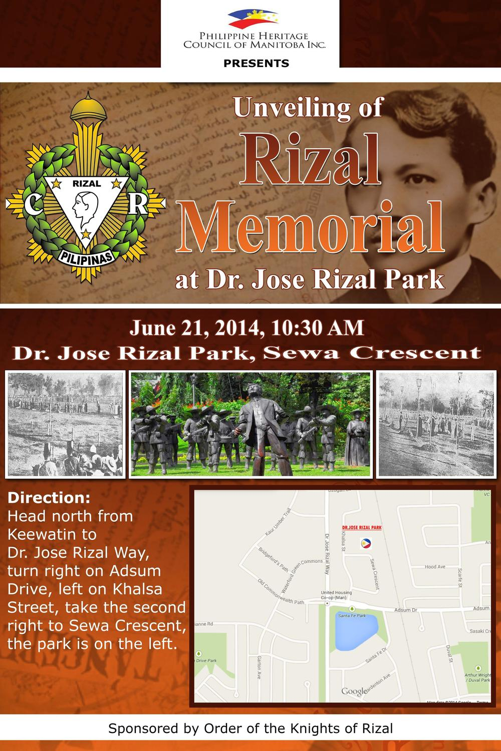 Dr. Jose Rizal Park, Winnipeg invitation