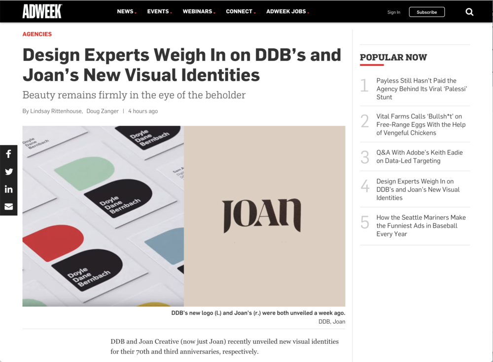 DDB's new logo (l.) and Joan's (r.) were both unveiled a week ago.