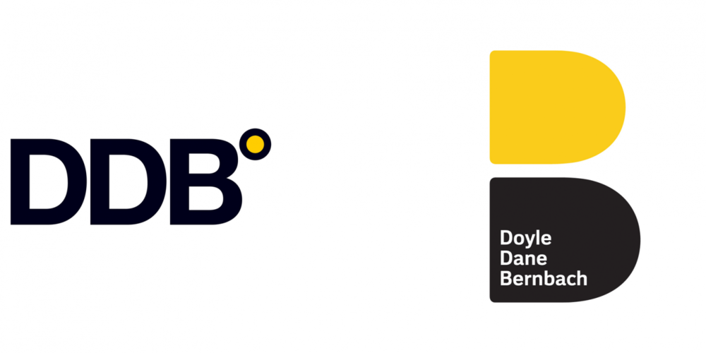 DDB's new logo pays homage to founders Ned Doyle, Mac Dane and Bill Bernbach, incorporating their names into the fresh visual which is essentially a revamped version of its very first one—two Ds, one yellow and one black, stacked on top of one another.