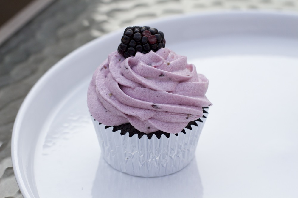 Chocolate cupcake with fresh blackberry buttercream and fresh blackberry
