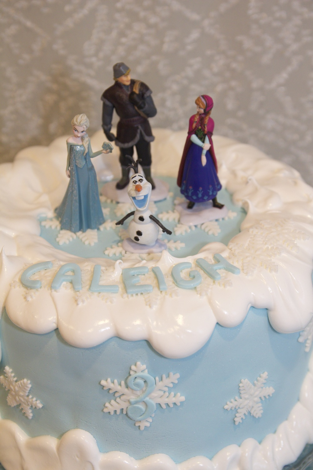 Anna, Elsa, Olaf, and Kristoff proudly on top of the cake while I left that other guys off because...well...you know
