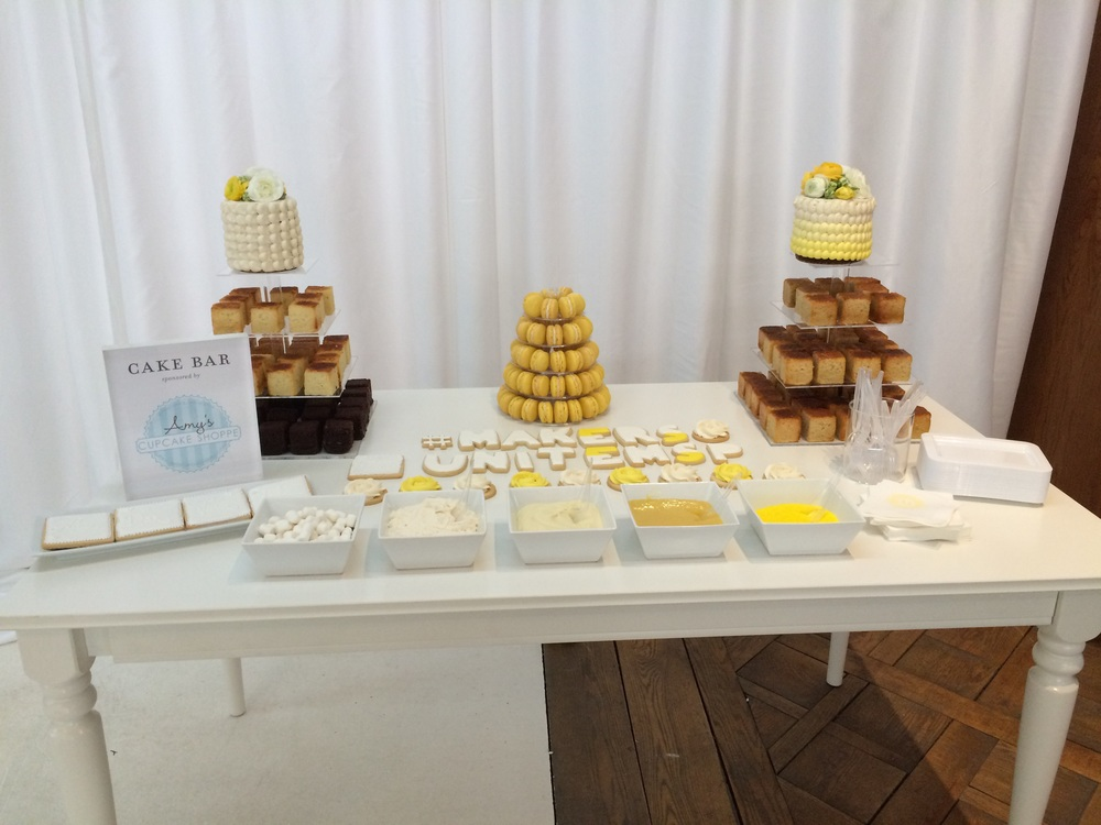 My very first cake bar! Includes cake cubes and assorted toppings, custom sugar cookies and a macaron tower