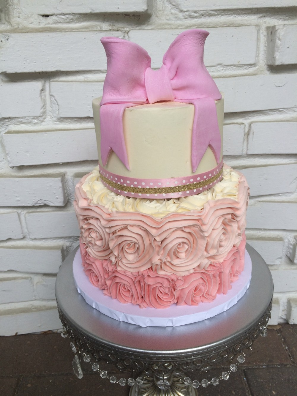 Pink Bow Baby Shower Cake