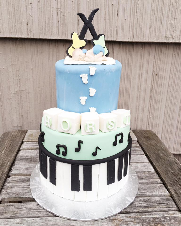 Baby Boy Rock n Roll Shower Cake
