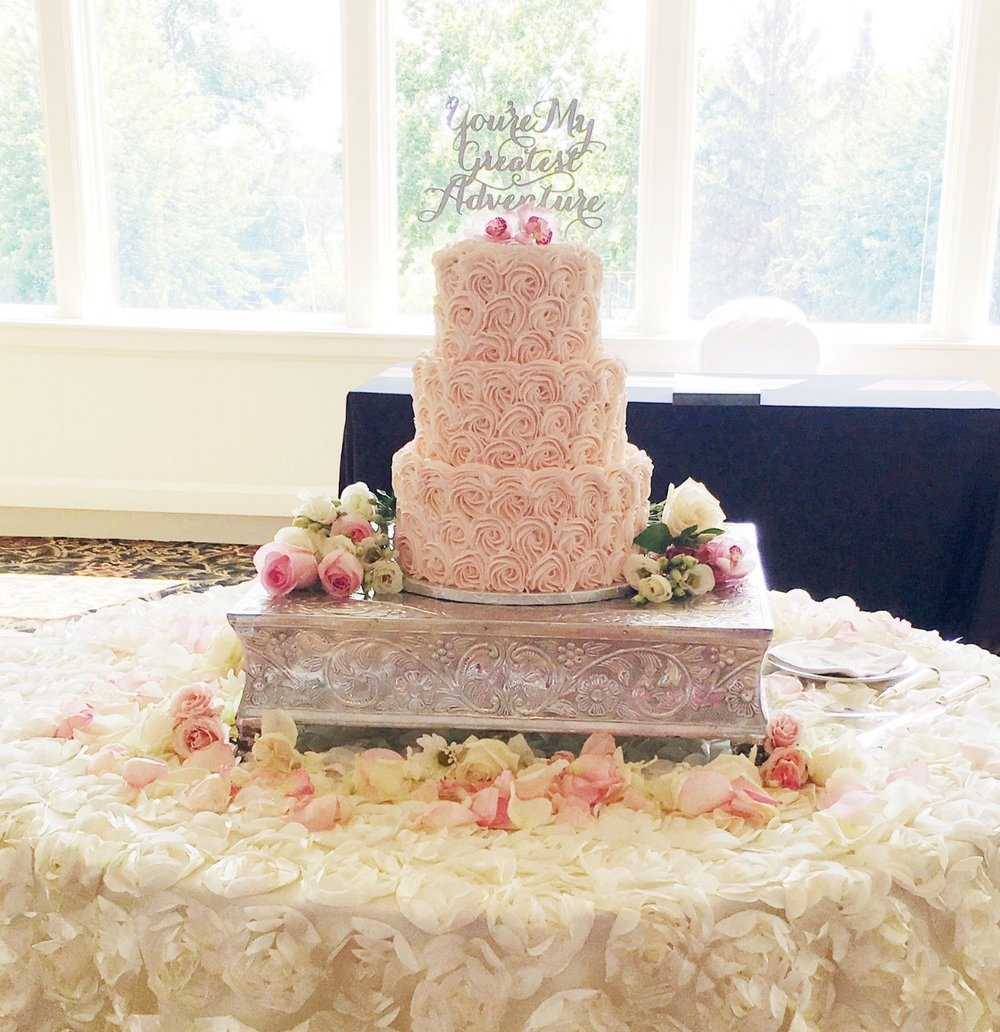 Blush Rosette Wedding Cake