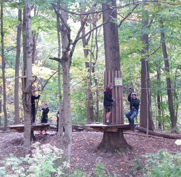 Safety first. Go Ape staff teach the customers how to strap in, clip on, and land safely.