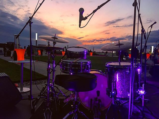 Thanks for a great weekend, Fort Wayne. See you soon. • • • • • #drums #drummer #band #gig #show #travel #sunset #rooftop #september #indiana #hometown #midwest