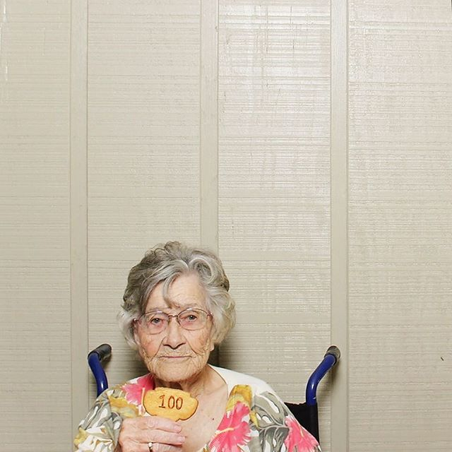 This little lady had a smilebooth at 100th year old birthday party.