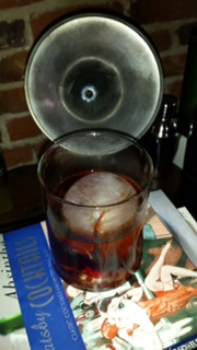 Mezcal Negroni with 1:1:1 Fidencio Mezcal, Campari and Zucca and 2 dashes 18.21 Bitters Prohibition Aromatic Bitters