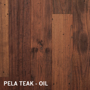 Reclaimed Pela Teak Oil Finish distressed patina wide plank cladding