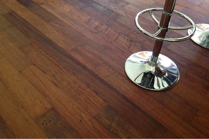 This Reclaimed Teak wood floor with a clear oil finish provides a rich distressed canvas that will hide scratches and dents from shoe and pet traffic.