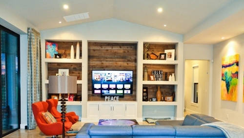 The Weathered Wood Wall Paneling Lends A Casual Edge To Neatly Built White Cabinets And Shelves This Is Northwest Blend In Fixed 5 Widths