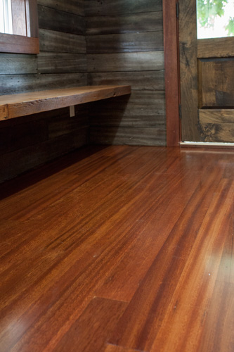 FSC-CERTIFIED RECLAIMED DINIZIA HARDWOOD       FLOORING WITH A POLYURETHANE FINISH