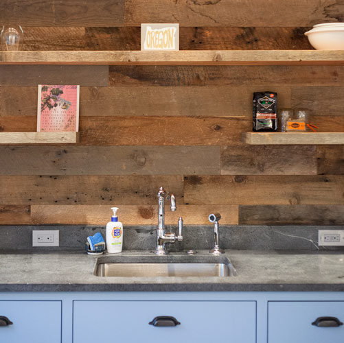Reclaimed Wood Kitchen Backsplash