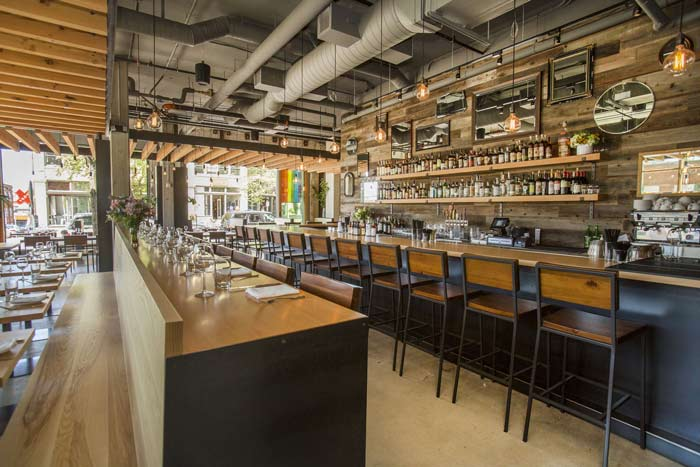 Tavolata Reclaimed Wood Wall Paneling In Restaurant Bar