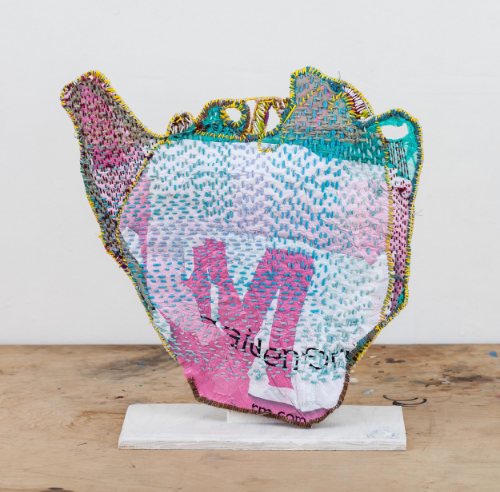 "Josh Blackwell,  Neveruses (Dropoff),  2015 plastic, wool, silk, paper, wood, wire 20.5"" x 20"" Photo courtesy of the artist"