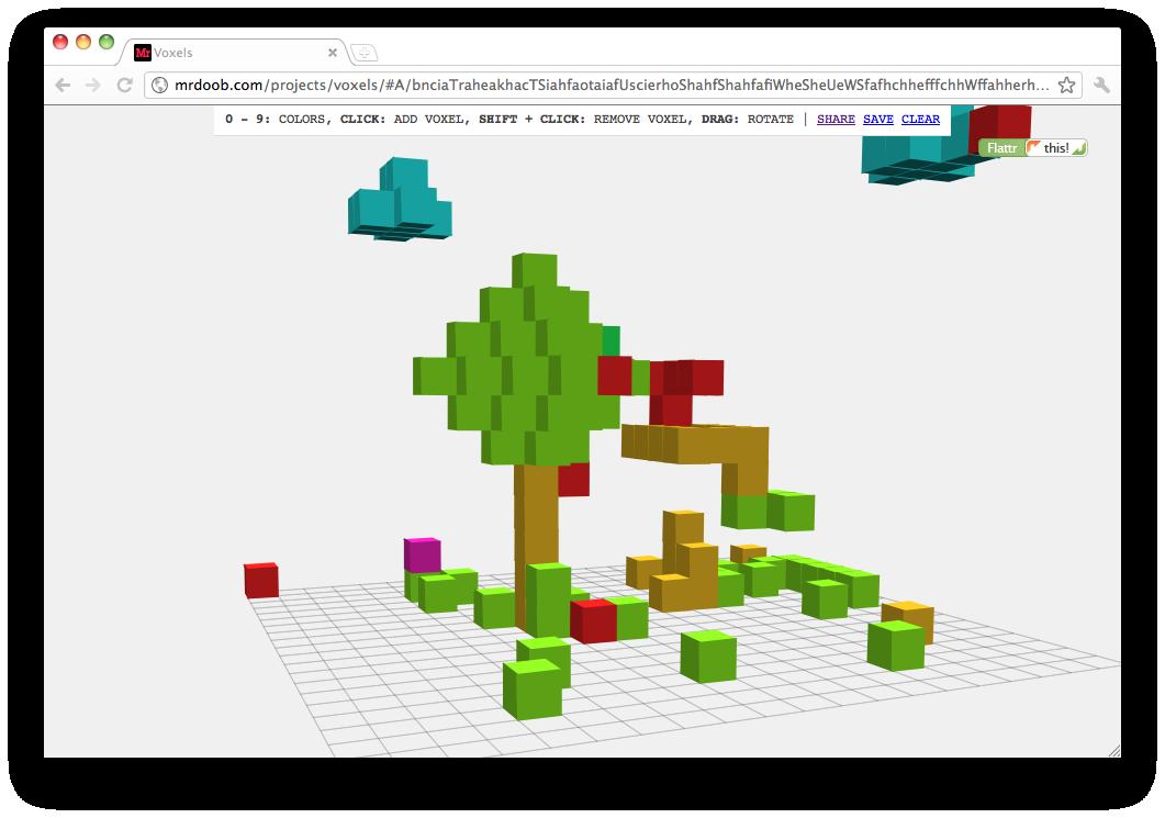 teau me : Voxels @mrdoob :: 3D html5 pixel-pimping delight  Just so