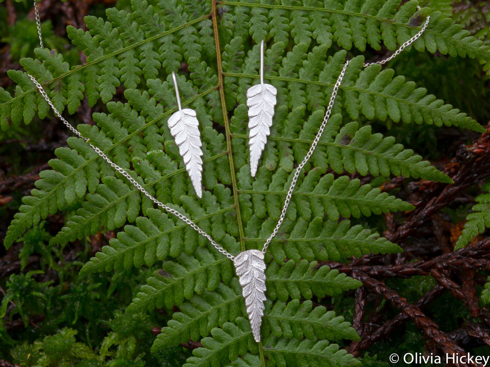 Tarkine Fern Sterling Silver pendant and earrings