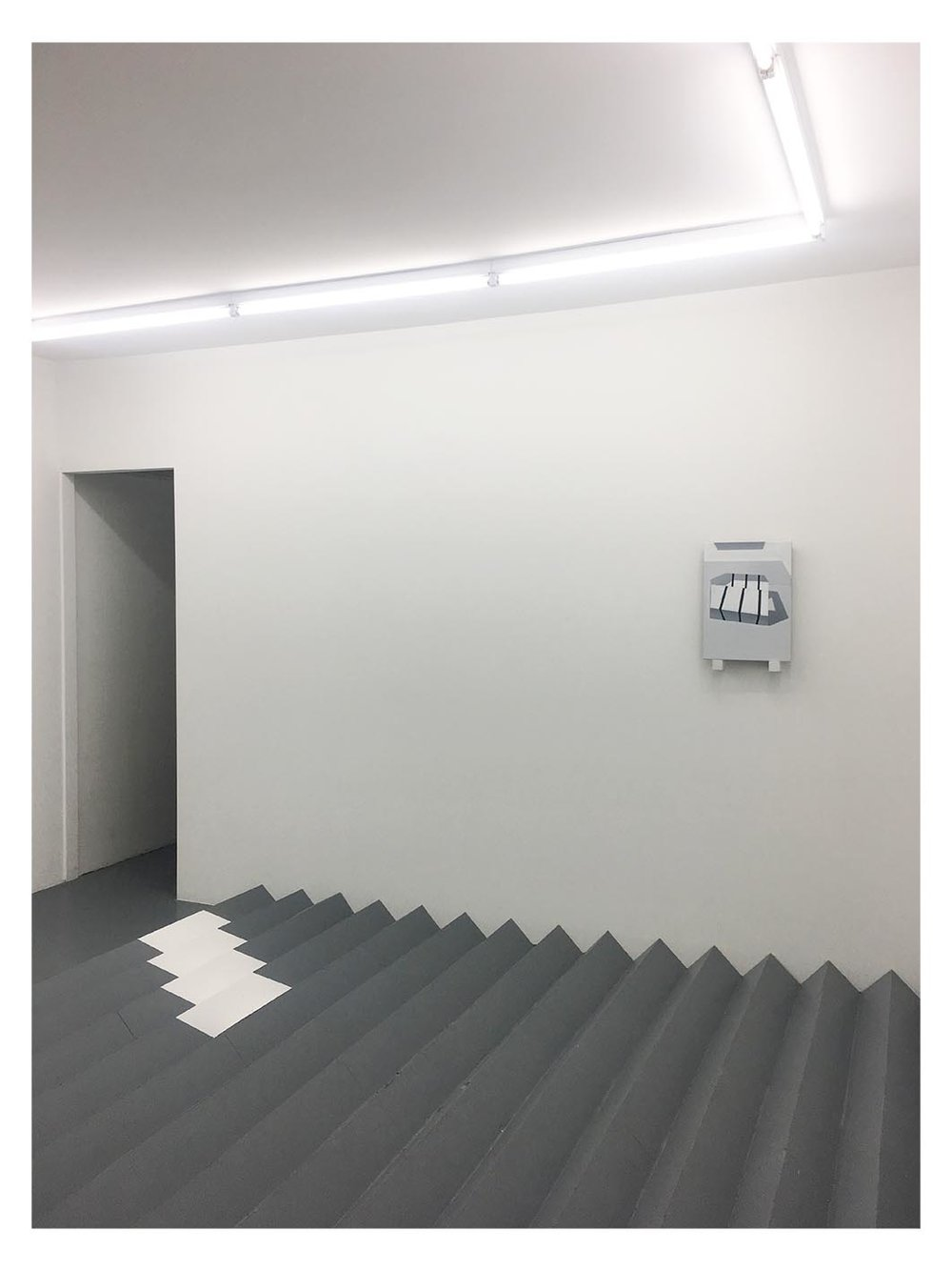 """Wall - """"Divergent""""  Oil on linen, pine, synthetic polymer  50 x 36 x 6cm  Floor - """"Proliferated Cubes""""  Plywood, synthetic polymer  3660 x 5200cm x 17cm  Five Walls Projects May 16 -June 2 2018"""