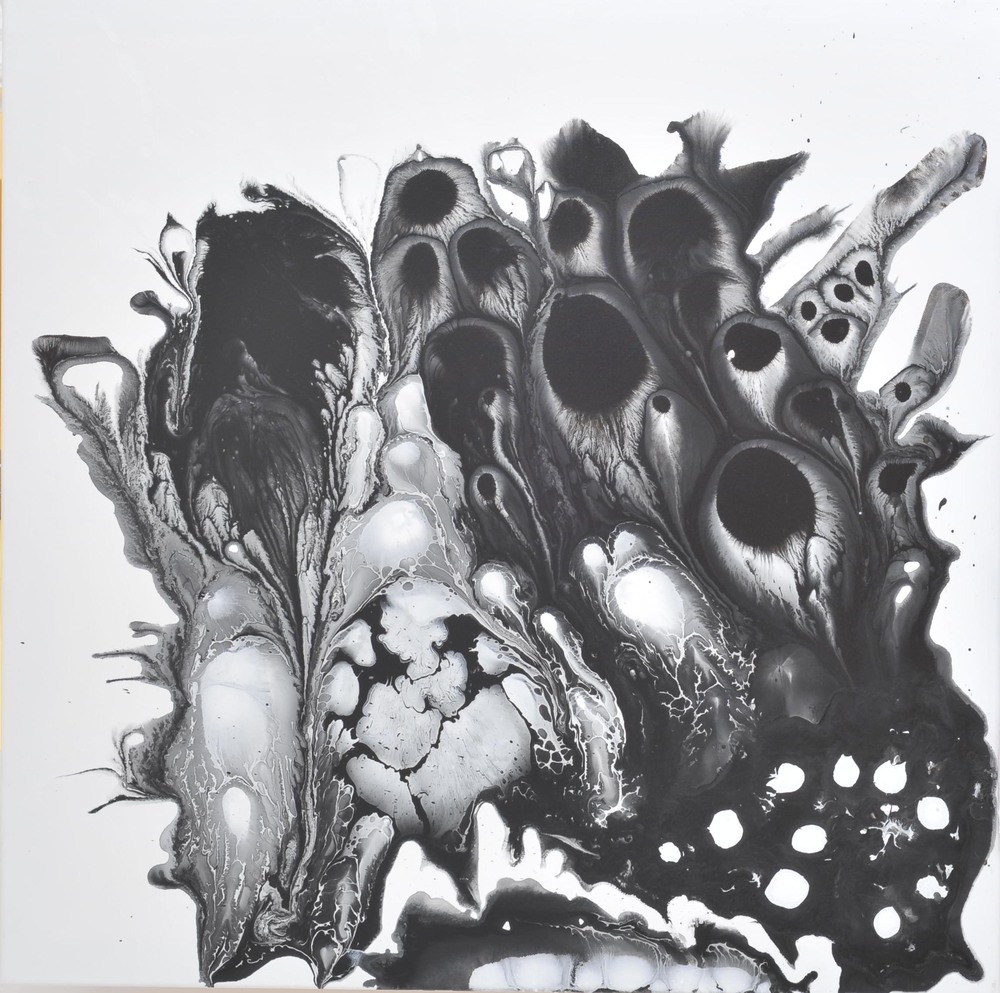 Evoking no. 5, Ink and acrylic on canvas, 80 x 80 cm, 2010
