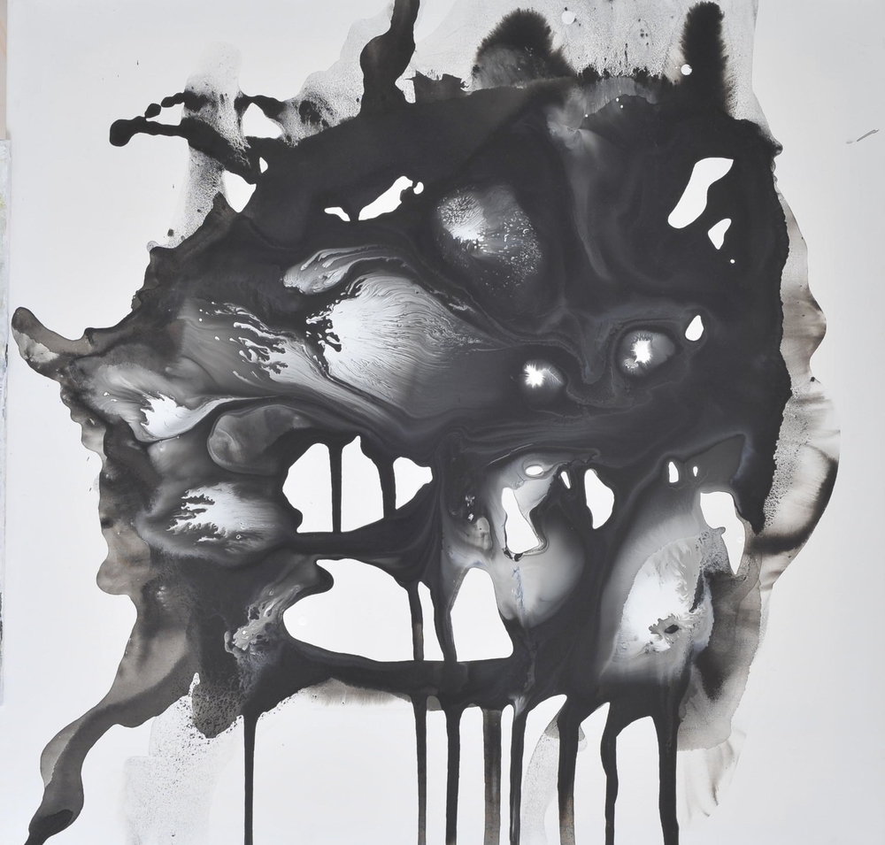 Evoking no. 1, Ink and acrylic on canvas, 80 x 80 cm, 2009