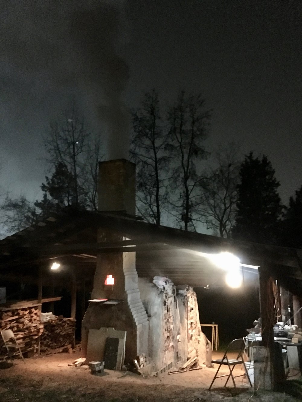 The second chamber of the kiln is salted.  We introduced ten pounds of salt and held at top temperature for an hour.  The kiln was shut down after 16 hours of firing.