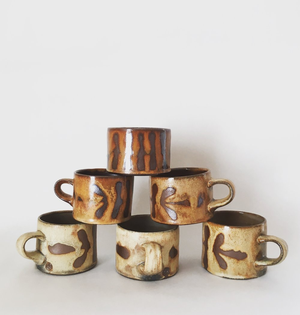 Seaweed Patterned Mugs
