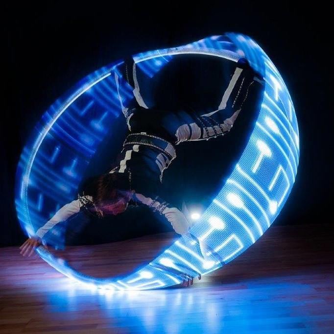 Glow juggling shows.