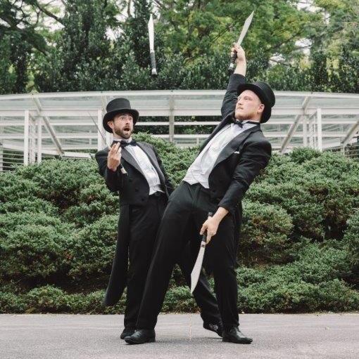 Victorian themed entertainment. Knife juggling acrobatics.