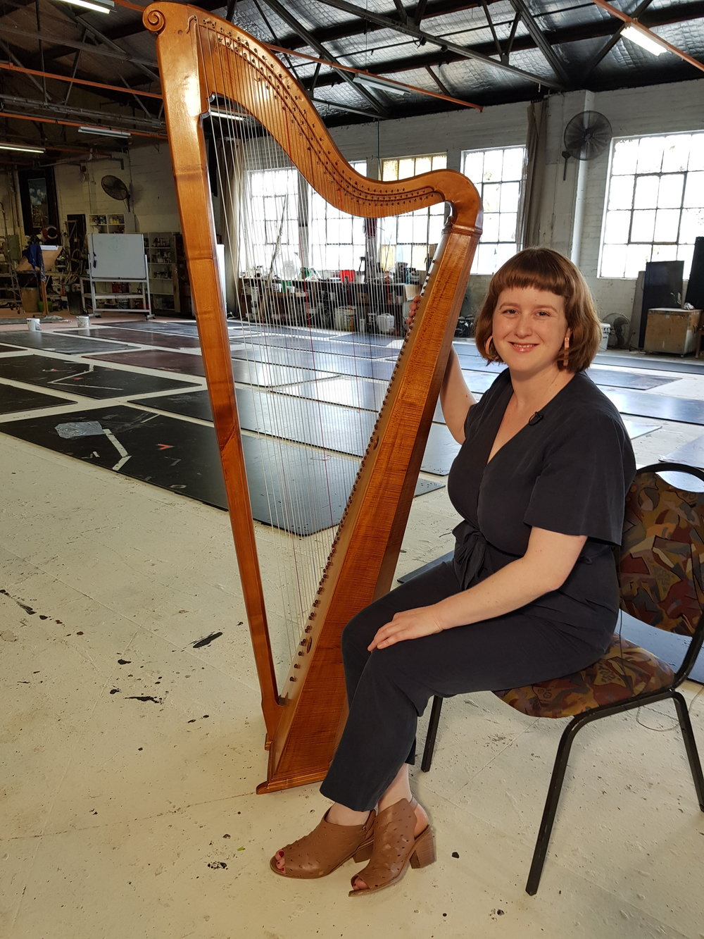 Hannah Lane and her baroque triple harp